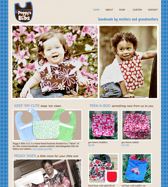 Peggy's Bibs website design
