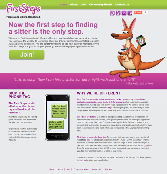 First Steps website design